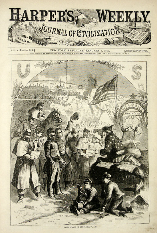 Santa Claus delivers to Union soldiers, &quot;Santa Claus in Camp&quot; - Thomas Nast, Harper's Weekly, Jan 3, 1863